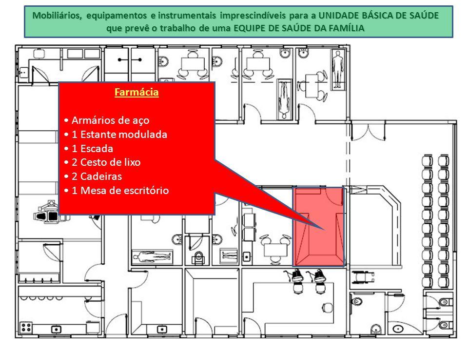 Farmácia • Armários de aço • 1 Estante modulada • 1 Escada