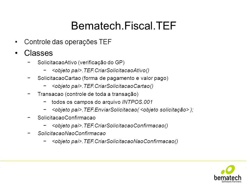 Bematech.Fiscal.TEF Classes Controle das operações TEF