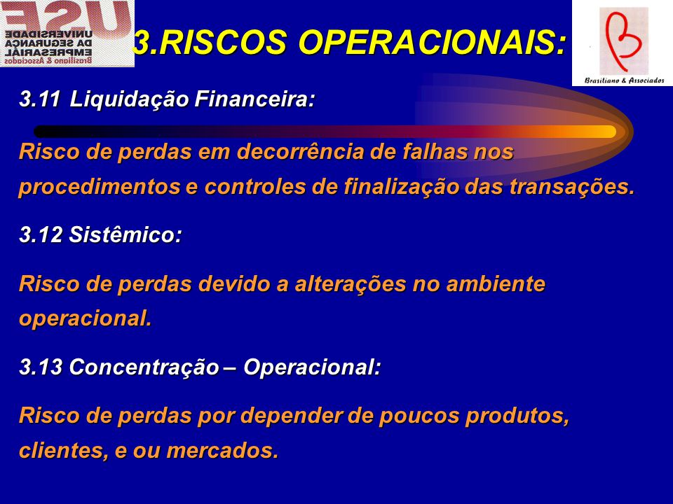 3.RISCOS OPERACIONAIS: 3.11 Liquidação Financeira: