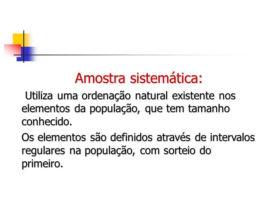 Amostra sistemática: Utiliza uma ordenação natural existente nos elementos da população, que tem tamanho conhecido.