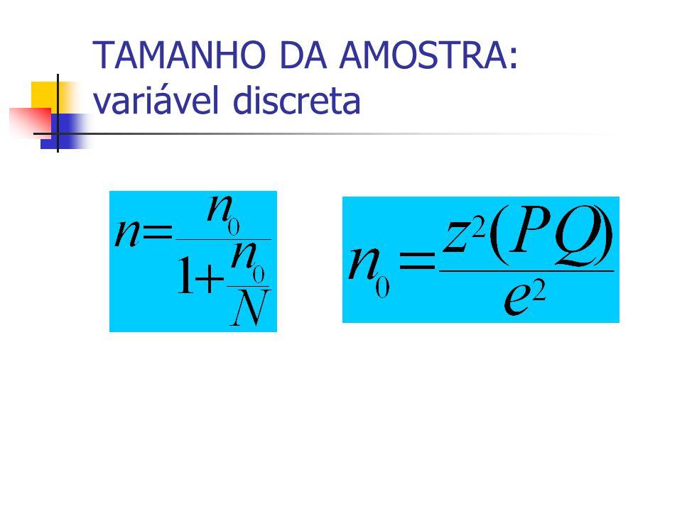 TAMANHO DA AMOSTRA: variável discreta