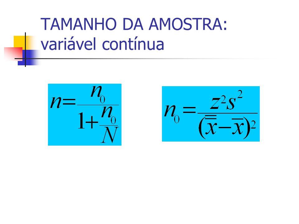 TAMANHO DA AMOSTRA: variável contínua