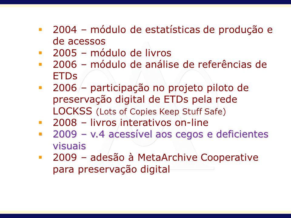2004 – módulo de estatísticas de produção e de acessos