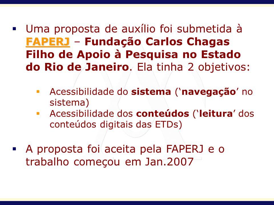 A proposta foi aceita pela FAPERJ e o trabalho começou em Jan.2007