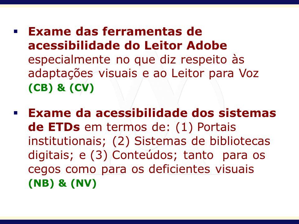 Exame das ferramentas de. acessibilidade do Leitor Adobe