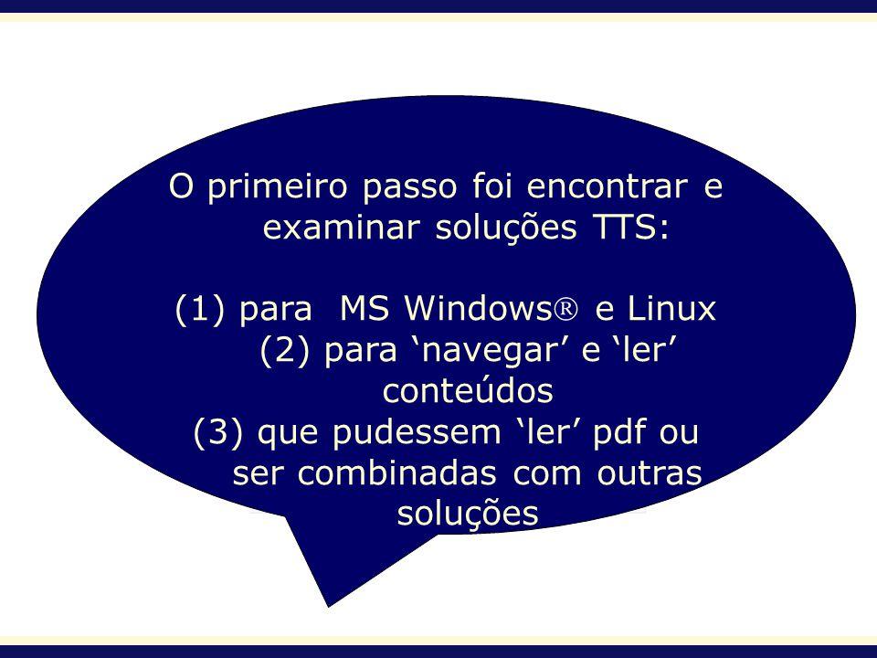 O primeiro passo foi encontrar e examinar soluções TTS: