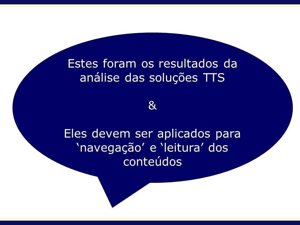 Estes foram os resultados da análise das soluções TTS