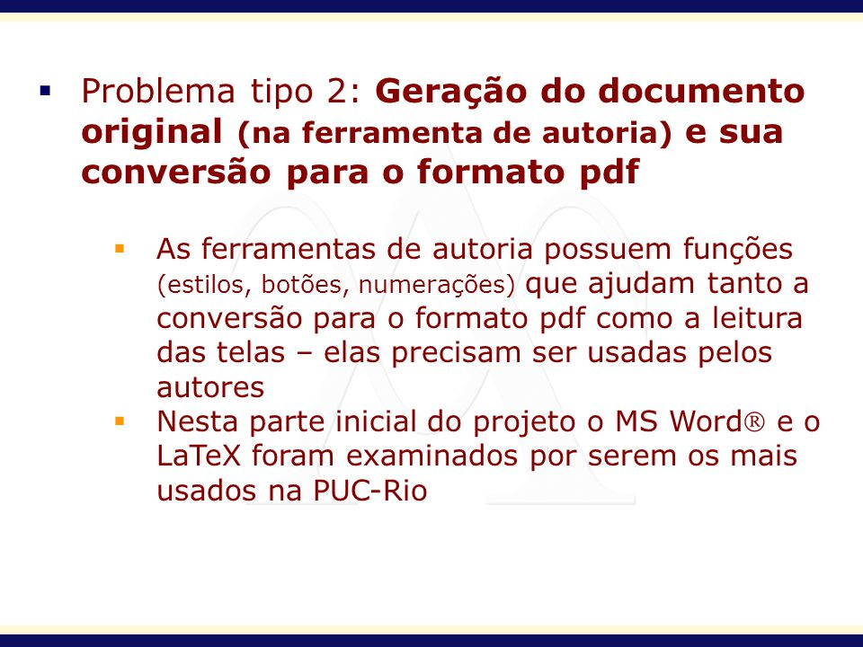 Problema tipo 2: Geração do documento