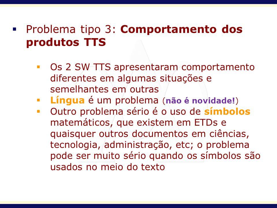 Problema tipo 3: Comportamento dos produtos TTS