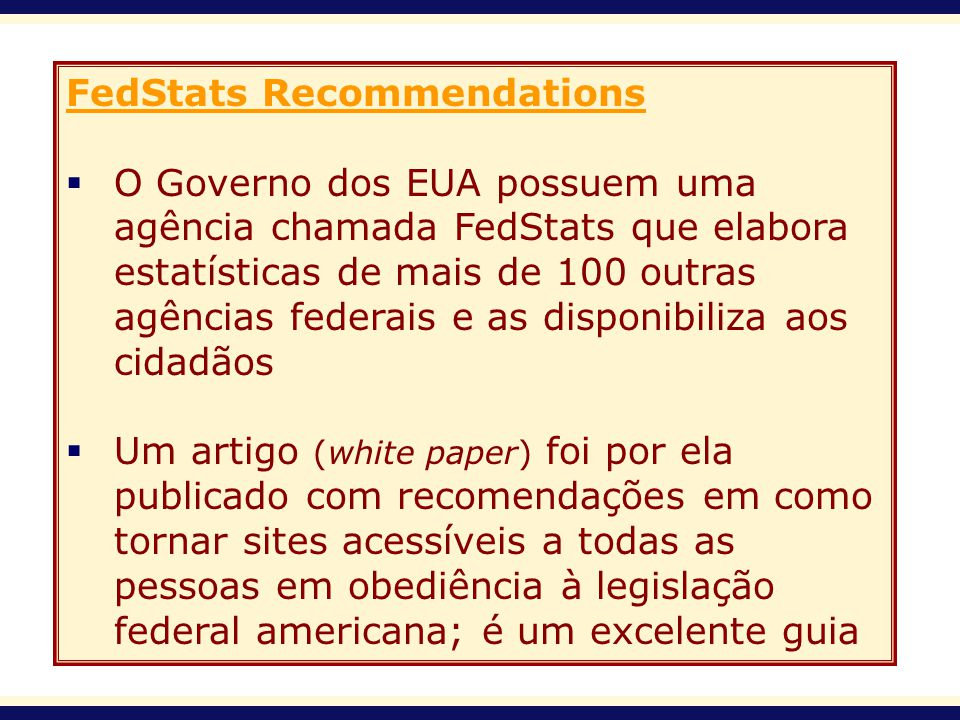 FedStats Recommendations