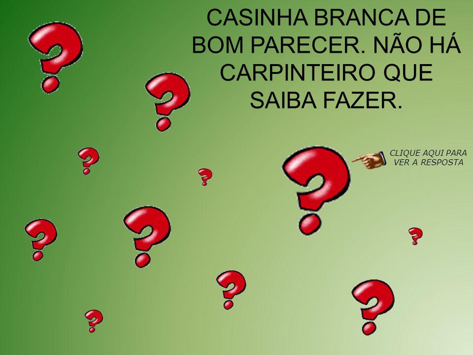CASINHA BRANCA DE BOM PARECER. NÃO HÁ CARPINTEIRO QUE SAIBA FAZER.