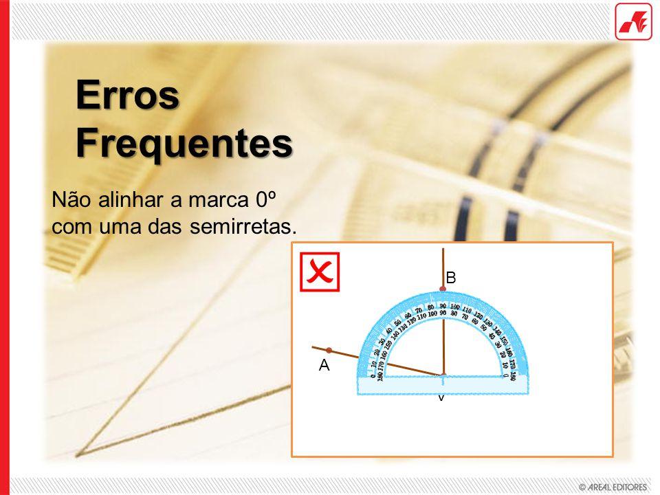  Erros Frequentes Não alinhar a marca 0º com uma das semirretas. B A