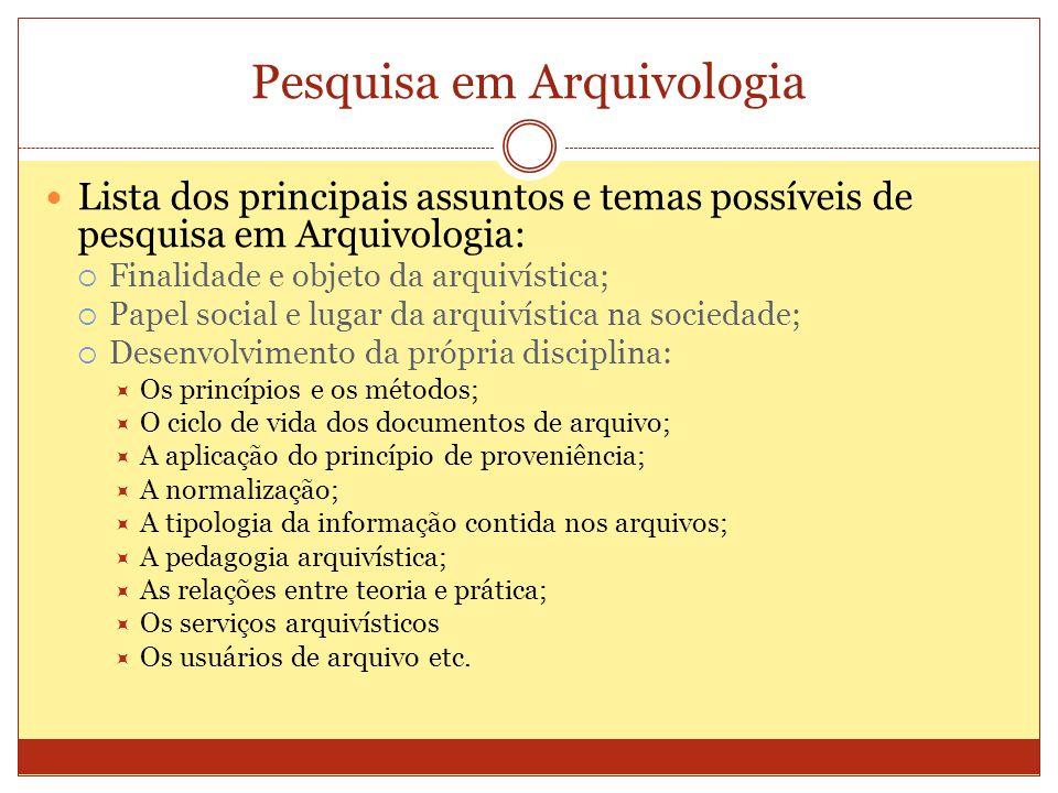 Pesquisa em Arquivologia