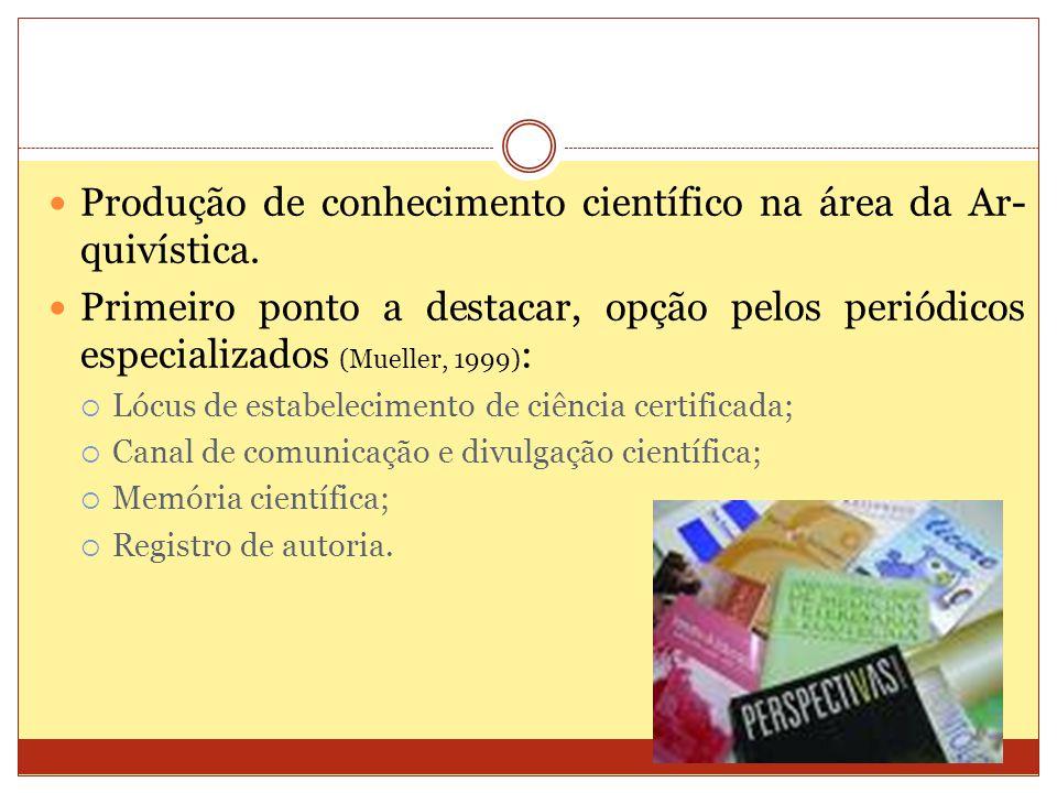 Produção de conhecimento científico na área da Ar-quivística.