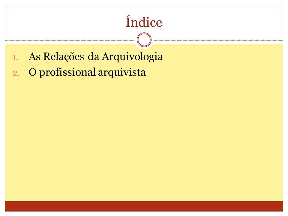Índice As Relações da Arquivologia O profissional arquivista