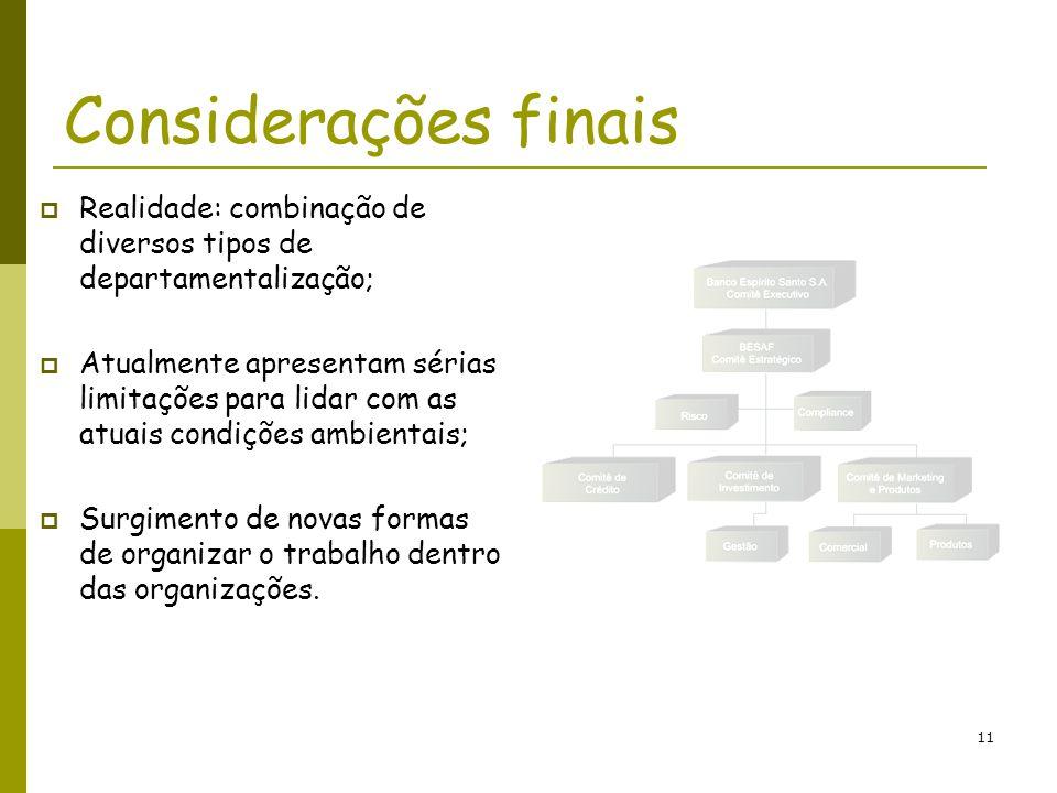 Considerações finais Realidade: combinação de diversos tipos de departamentalização;