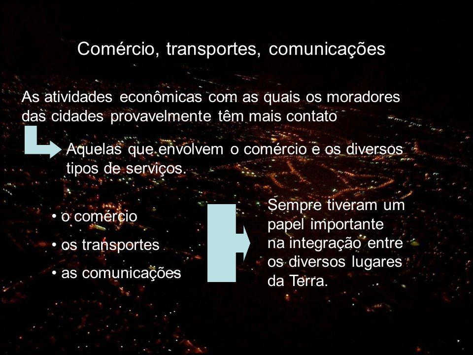 Comércio, transportes, comunicações