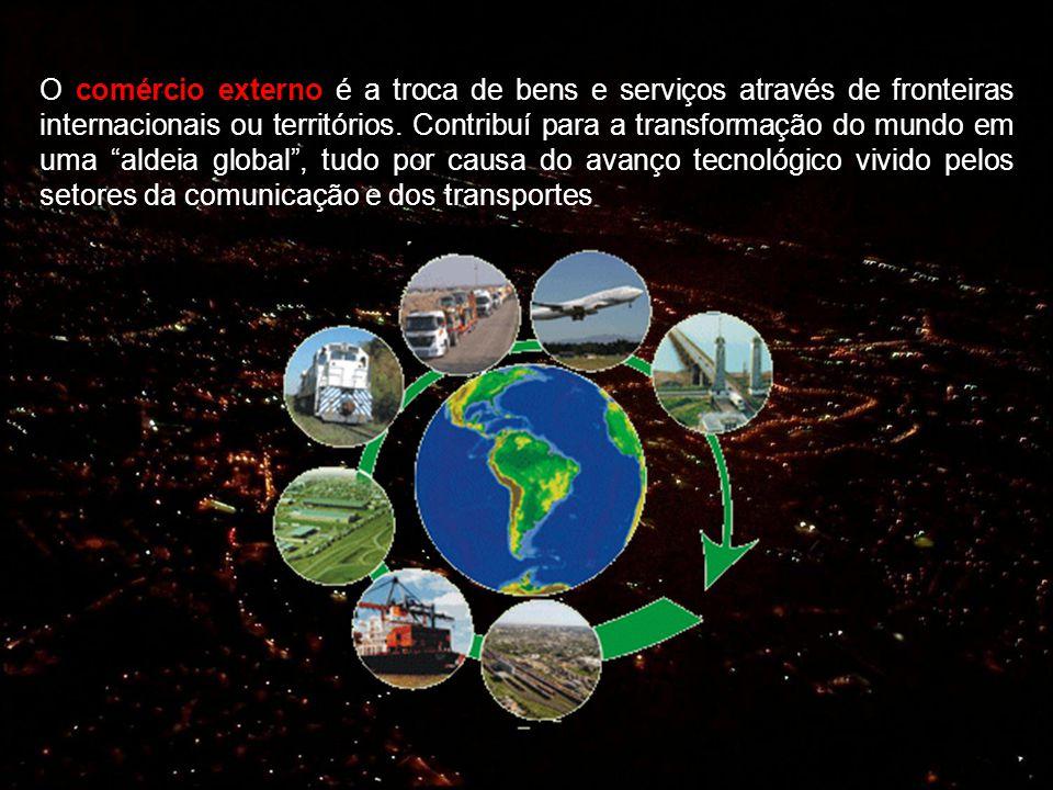 O comércio externo é a troca de bens e serviços através de fronteiras internacionais ou territórios.