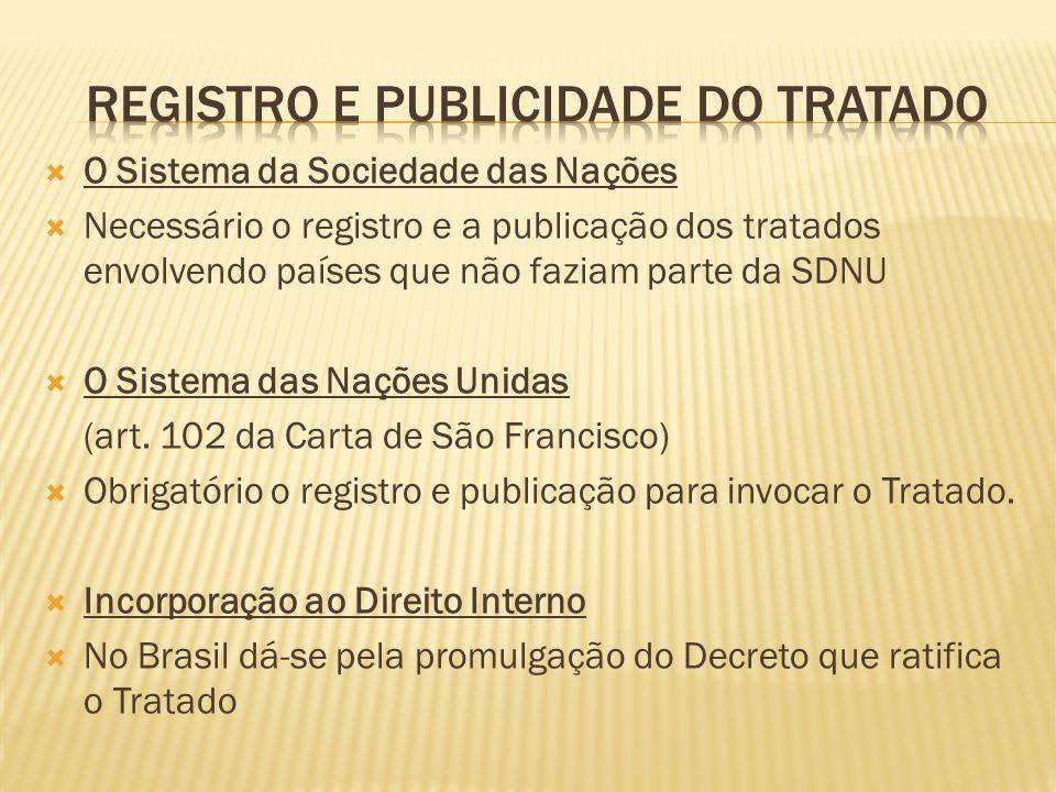 REGISTRO E PUBLICIDADE DO TRATADO