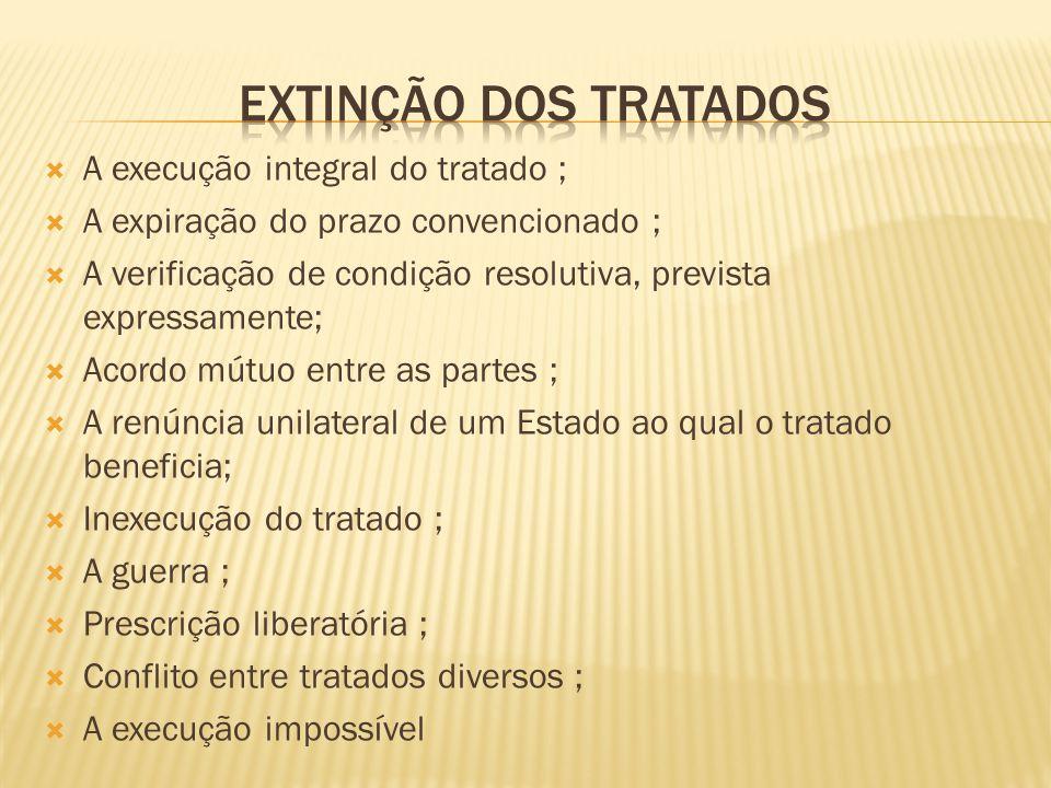EXTINÇÃO DOS TRATADOS A execução integral do tratado ;