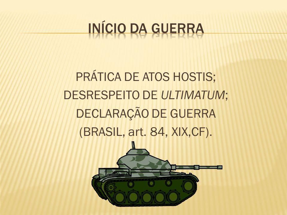 INÍCIO DA GUERRA PRÁTICA DE ATOS HOSTIS; DESRESPEITO DE ULTIMATUM;