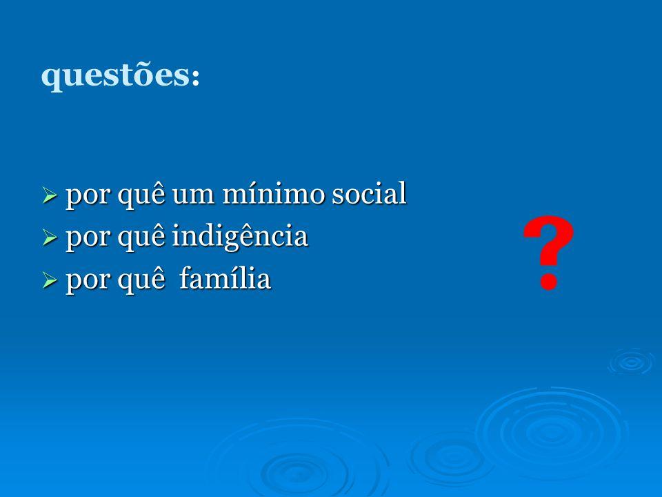  questões: por quê um mínimo social por quê indigência