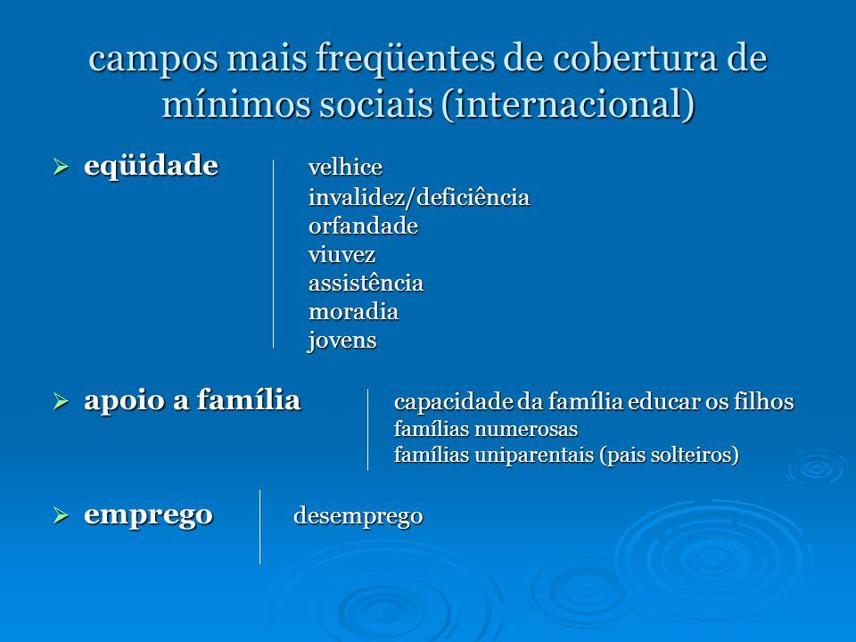 campos mais freqüentes de cobertura de mínimos sociais (internacional)