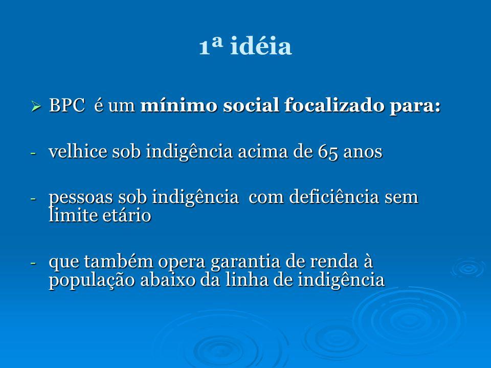 1ª idéia BPC é um mínimo social focalizado para: