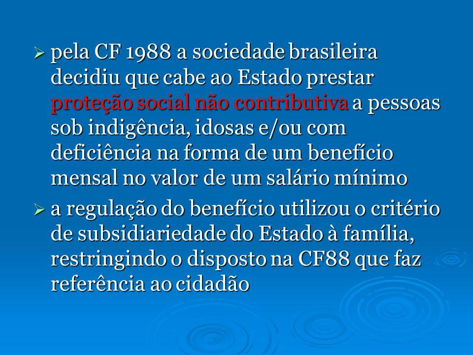 pela CF 1988 a sociedade brasileira decidiu que cabe ao Estado prestar proteção social não contributiva a pessoas sob indigência, idosas e/ou com deficiência na forma de um benefício mensal no valor de um salário mínimo