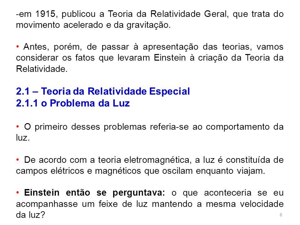 2.1 – Teoria da Relatividade Especial 2.1.1 o Problema da Luz