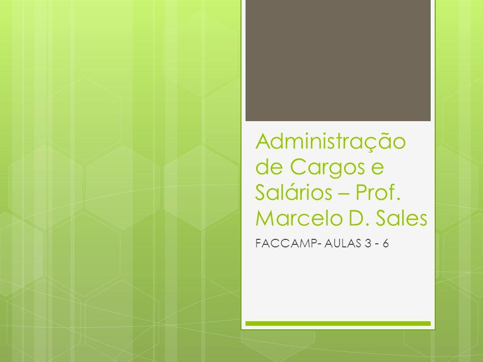 Administração de Cargos e Salários – Prof. Marcelo D. Sales