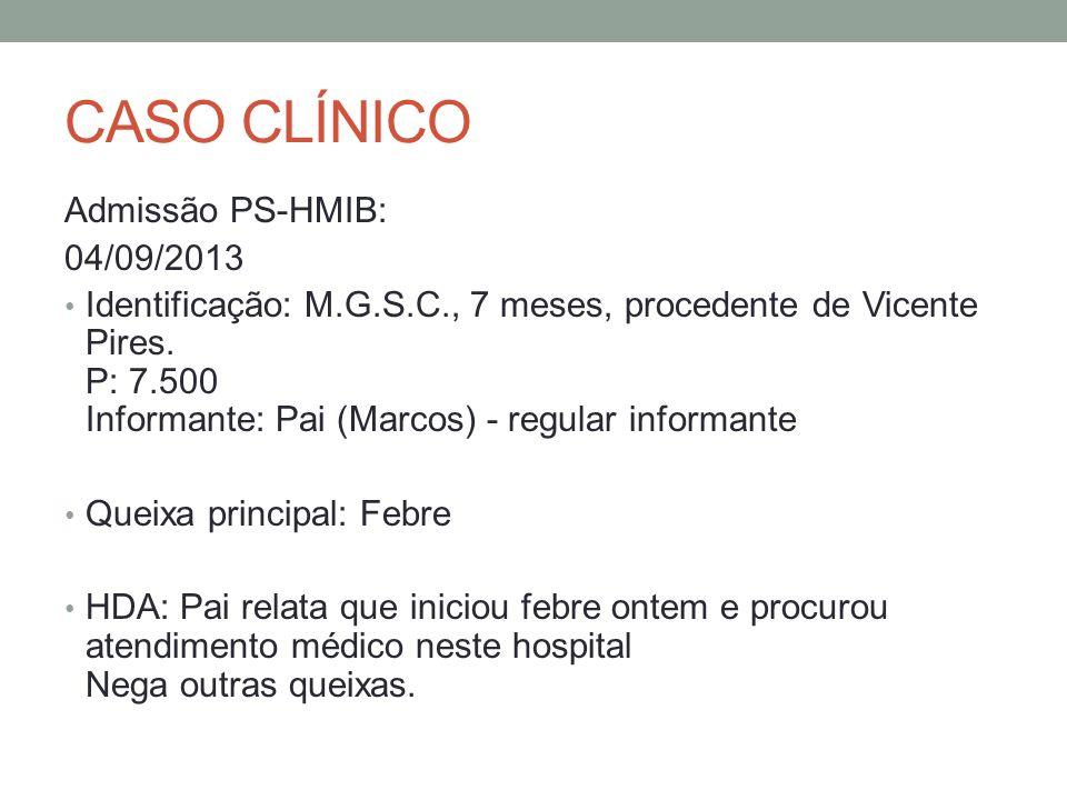 CASO CLÍNICO Admissão PS-HMIB: 04/09/2013