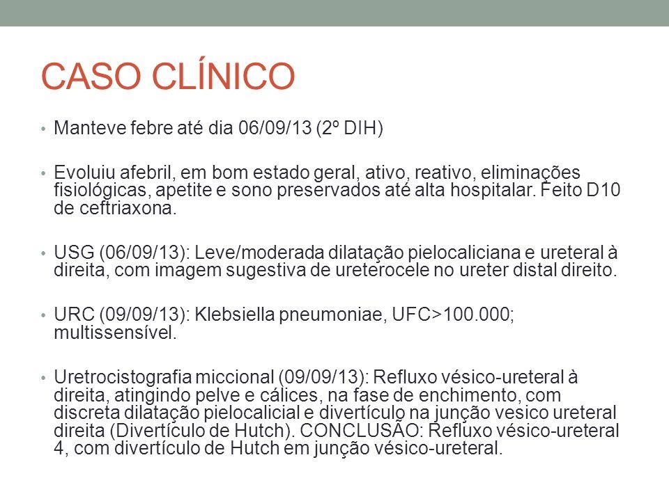 CASO CLÍNICO Manteve febre até dia 06/09/13 (2º DIH)