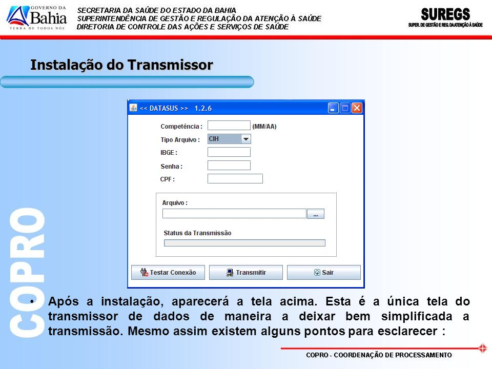 Instalação do Transmissor