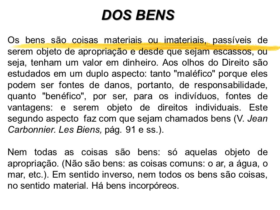 DOS BENS