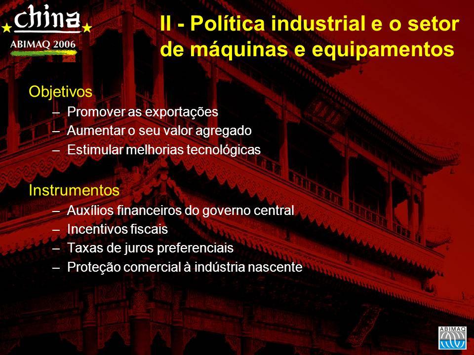 II - Política industrial e o setor de máquinas e equipamentos