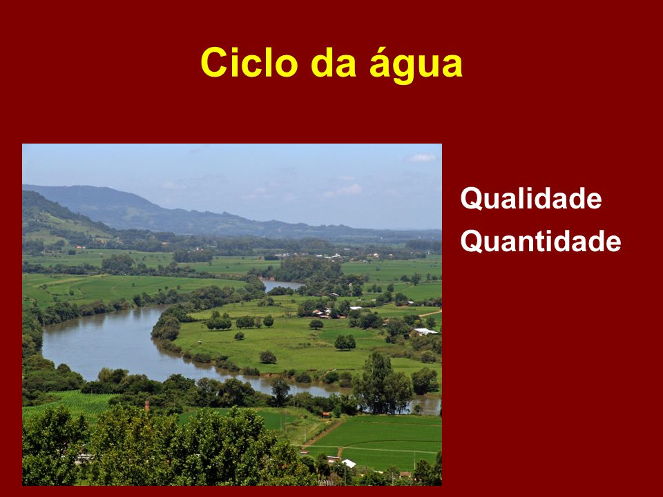 Ciclo da água Qualidade Quantidade