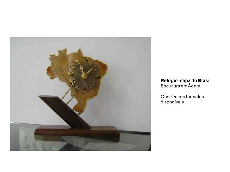 Relógio mapa do Brasil. Escultura em Ágata