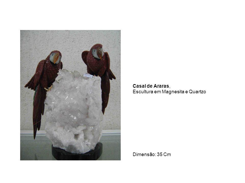 Casal de Araras, Escultura em Magnesita e Quartzo Dimensão: 35 Cm