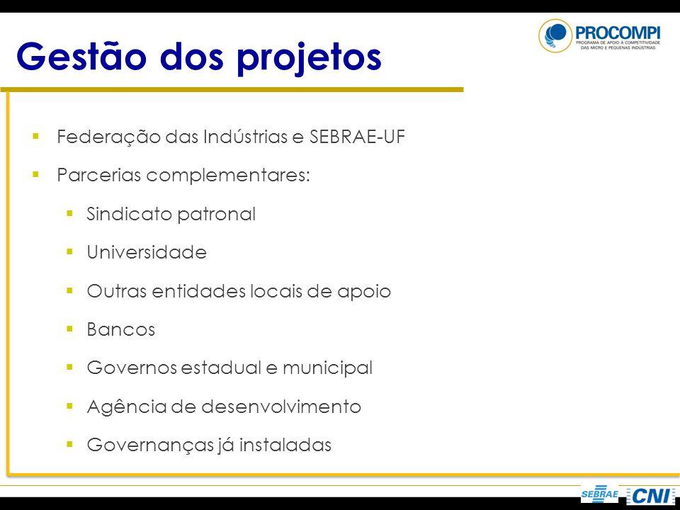 Gestão dos projetos Federação das Indústrias e SEBRAE-UF