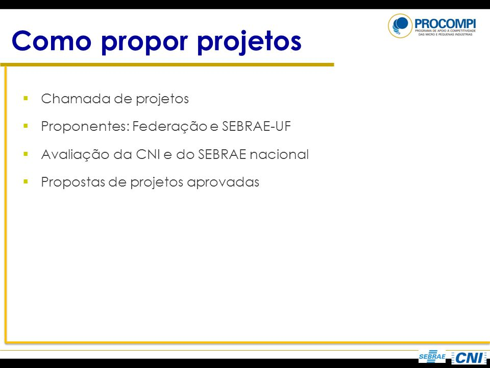 Como propor projetos Chamada de projetos