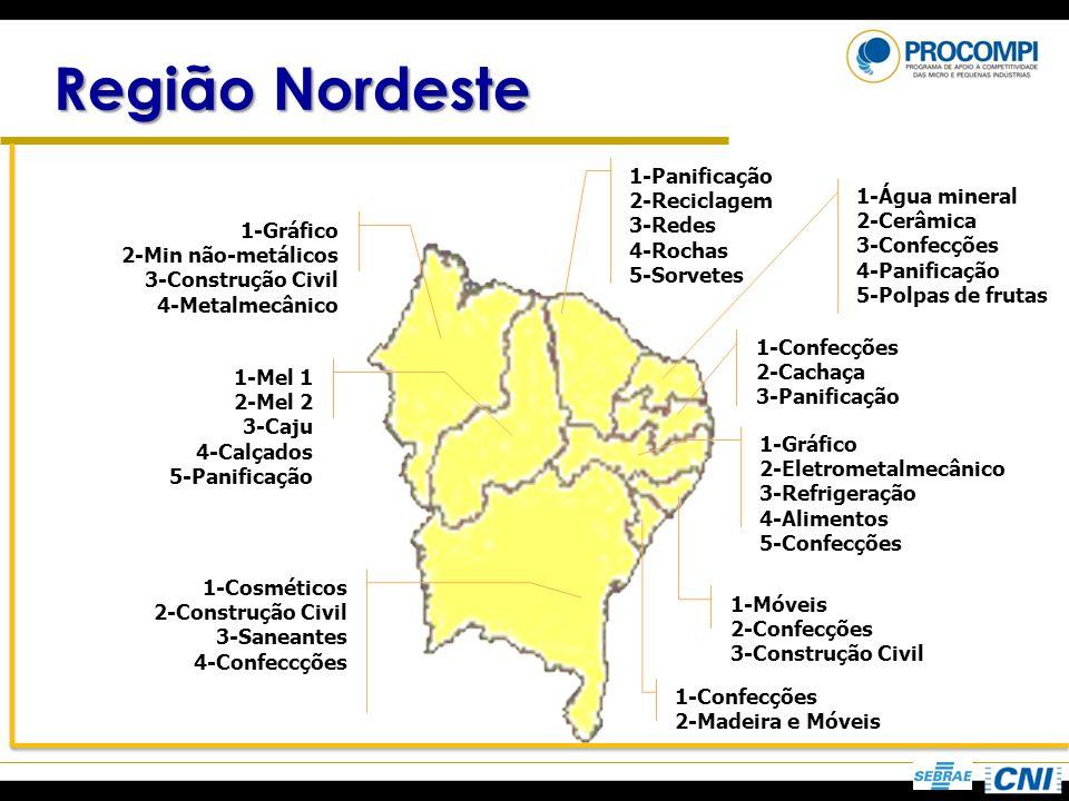 Região Nordeste 1-Panificação 2-Reciclagem 1-Água mineral 3-Redes