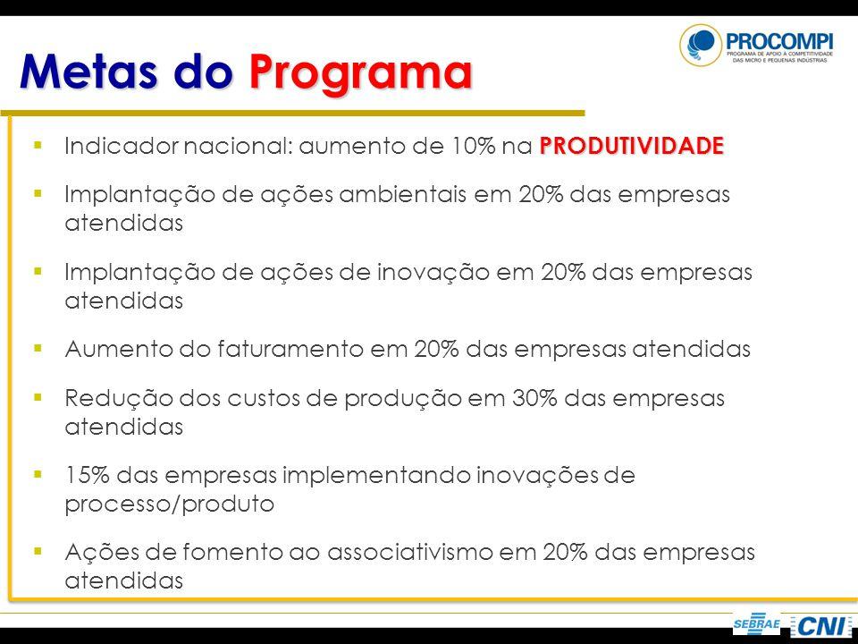Metas do Programa Indicador nacional: aumento de 10% na PRODUTIVIDADE