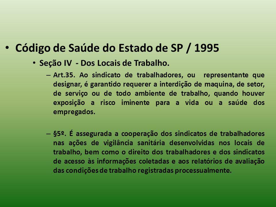 Código de Saúde do Estado de SP / 1995