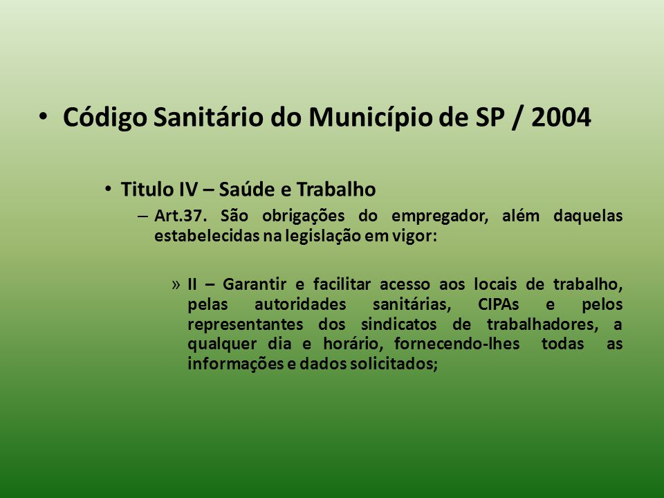 Código Sanitário do Município de SP / 2004