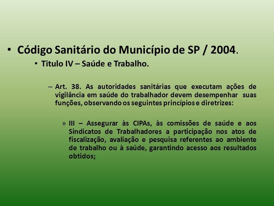 Código Sanitário do Município de SP / 2004.