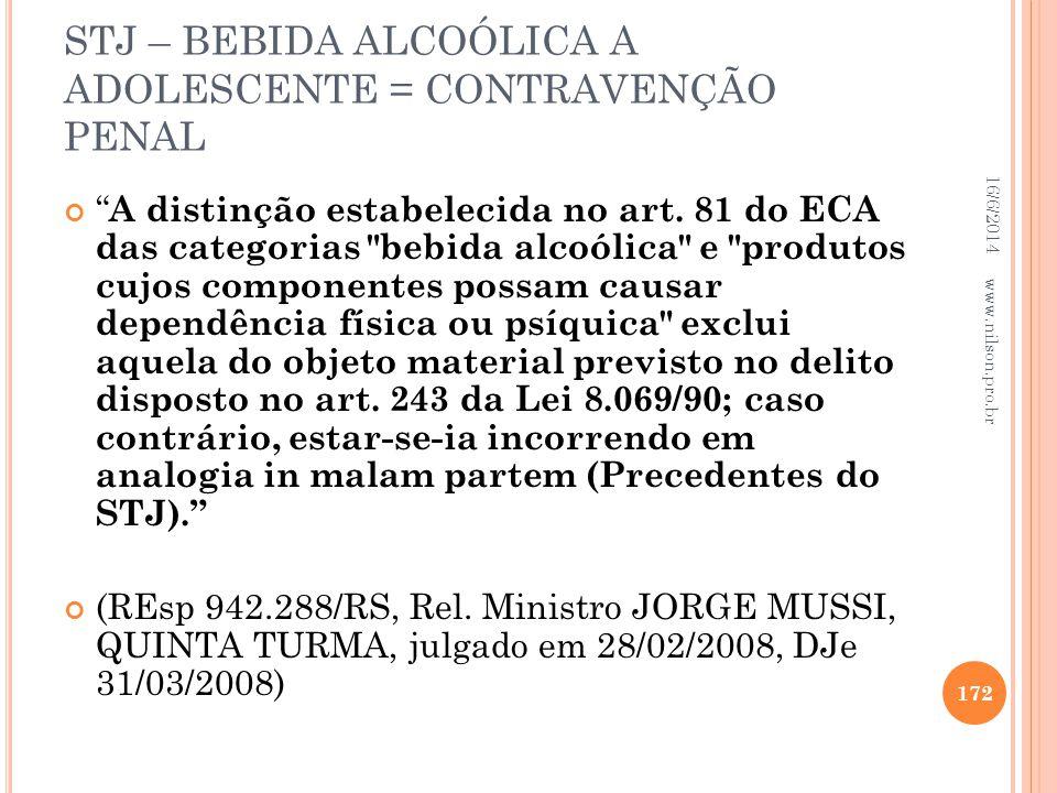 STJ – BEBIDA ALCOÓLICA A ADOLESCENTE = CONTRAVENÇÃO PENAL