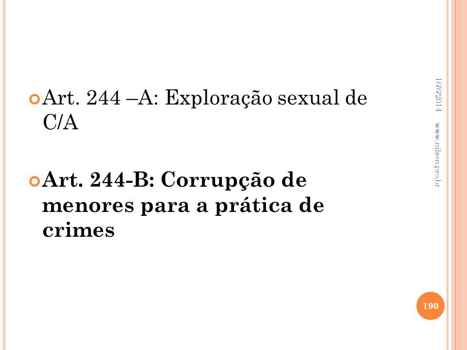 Art. 244 –A: Exploração sexual de C/A