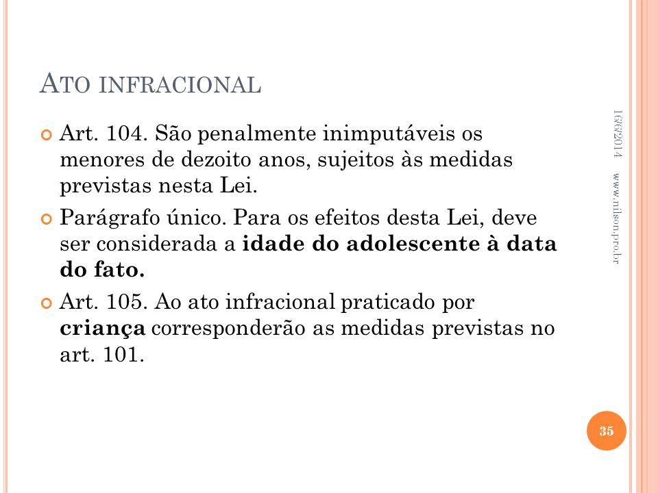 Ato infracional 02/04/2017. Art. 104. São penalmente inimputáveis os menores de dezoito anos, sujeitos às medidas previstas nesta Lei.