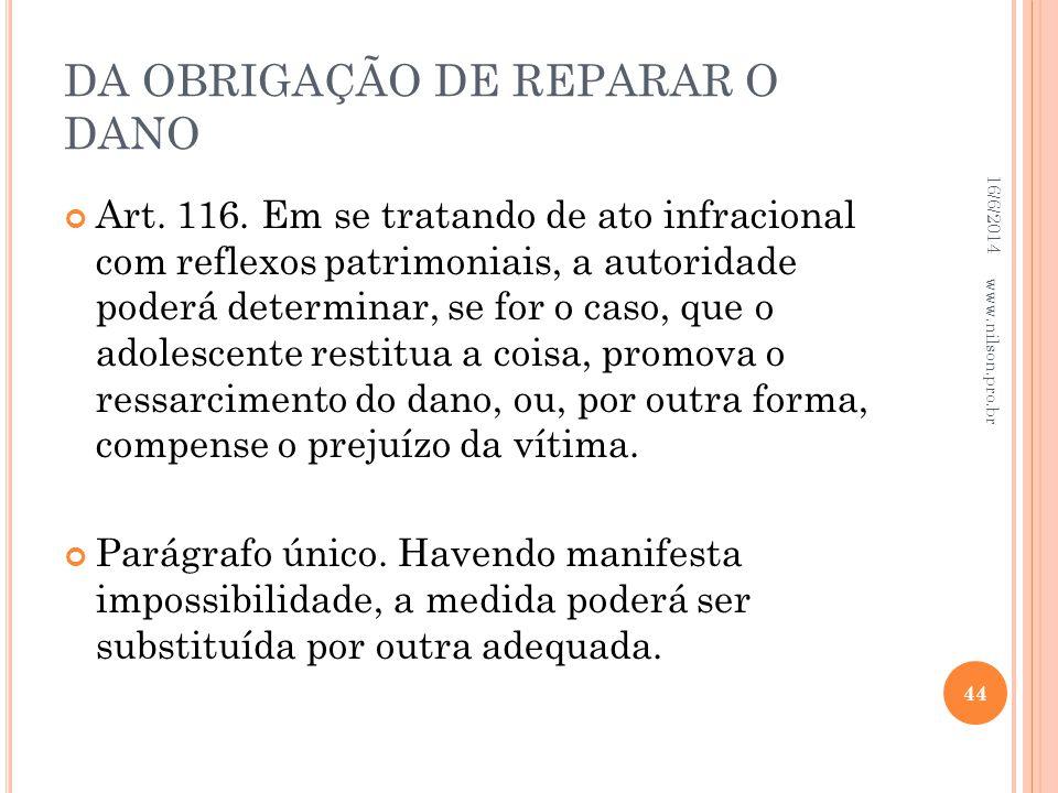 DA OBRIGAÇÃO DE REPARAR O DANO
